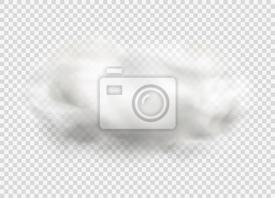 Obraz Cloud of fog, smoke, urban smog. Realistic isolated cloud on transparent background.