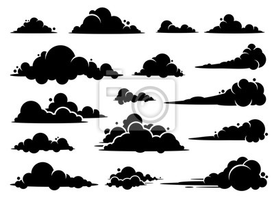 Obraz Cloud vector graphic design. A set of clouds illustration in the sky in black silhouette.