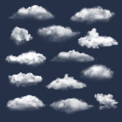 Obraz Clouds realistic. Nature sky weather symbols rain or snow cloud vector collection. Cloud and sky, cloudy meteorology, weather elements illustration