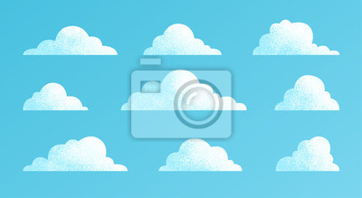 Obraz Clouds set isolated on a blue background. Simple cute cartoon design. Modern icon or logo collection. Realistic elements. Flat style vector illustration.
