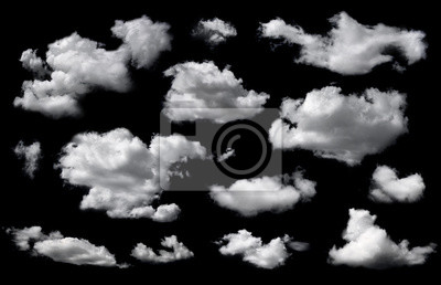 Obraz Clouds set isolated on black background. White cloudiness, mist or smog background.