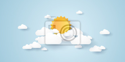 Obraz Cloudscape, niebieskie niebo z chmurami i słońcem, papierowy sztuka styl