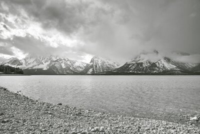 Cloudy day by the lake in Grand Teton National Park, Wyoming, USA.