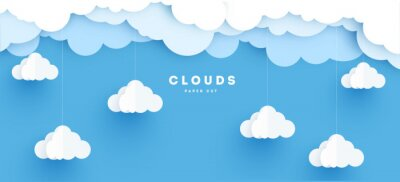 Obraz Cloudy paper cut art, vector illustration. Volumetric cloudscape horizontal background. Banner with 3d clouds on blue sky