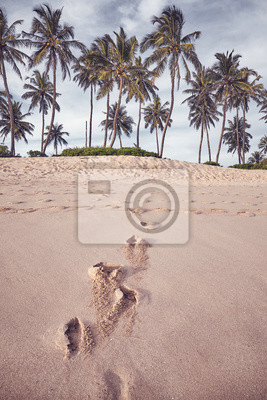 Coconut palm trees at a beach with footprints on sand, color toning applied.