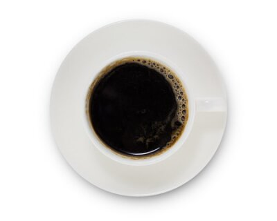 Obraz coffee cup top view  isolated on white background. with clipping path.