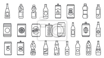 Obraz Cold soda icons set. Outline set of cold soda vector icons for web design isolated on white background