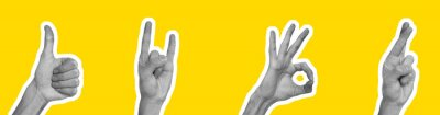 Obraz Collage in magazine style with hands showing different gestures on yellow background
