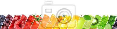 Obraz Collage of color fruits and vegetables. Fresh ripe food