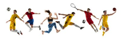 Obraz Collage of different professional sportsmen, fit people in action and motion isolated on white background. Flyer.