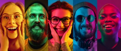 Obraz Collage of portraits of young emotional people on multicolored background in neon. Concept of human emotions, facial expression, sales. Smiling, listen to music with headphones. Flyer for ad, proposal