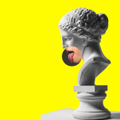 Obraz Collage with plaster head model, statue and female portrait isolated on yellow background. Negative space to insert your text. Modern design. Contemporary colorful and conceptual bright art collage.