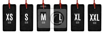 Obraz Collection of clothing size labels isolated on white, vector illustration