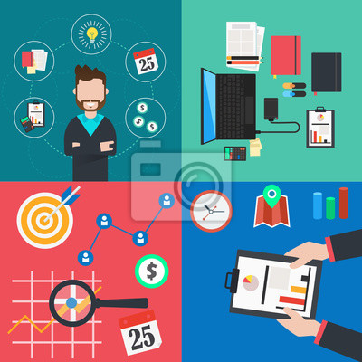 Obraz Collection of flat colorful business and finance concepts icons