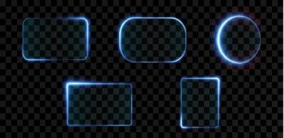 Obraz Collection of futuristic hud light blue frame. Technological background. Light glass blue frames square, oval, rectangle, circle. HUD PNG. Vector Illustration.