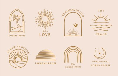 Obraz Collection of line design with sun,sea,wave.Editable vector illustration for website, sticker, tattoo,icon