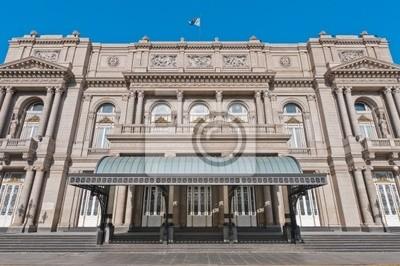 Obraz Colon Theatre elewacji na Avenida 9 de Julio w Buenos Aires