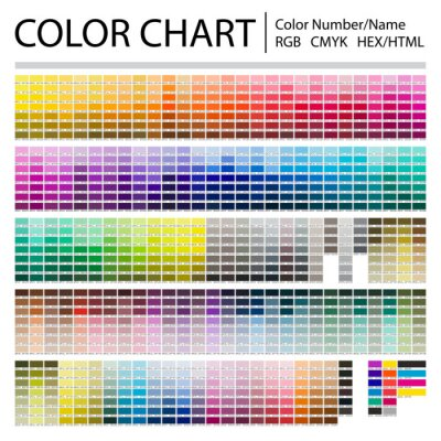 Obraz Color Chart. Print Test Page. Color Numbers or Names. RGB, CMYK, Pantone, HEX HTML codes. Vector color palette.