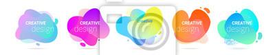 Obraz Color gradient abstract liquid shape, vector halftone pattern background. Fluid color splash gradient overlap halftone graphic background
