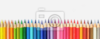 Obraz Color pencils isolated on white background close up with Clipping path.Beautiful color pencils.Color pencils for drawing  Rainbow color pencil and used as a background.