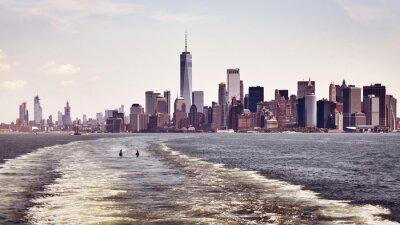 Color toned panoramic view of Manhattan skyline, New York City, USA.