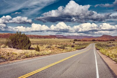 Color toned picture of a scenic road, Utah, USA.