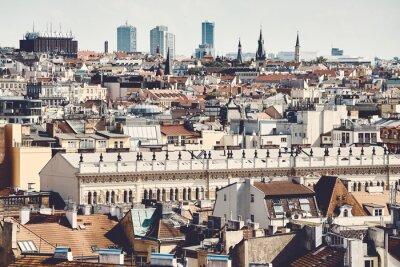 Color toned picture of Prague cityscape, Czech Republic.