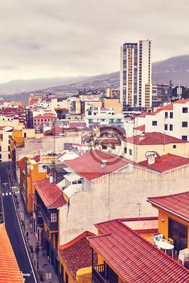 Color toned picture of Puerto de la Cruz, Tenerife, Canary Islands, Spain.
