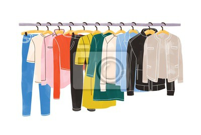 Obraz Colored clothes or apparel hanging on hangers on garment rack or rail isolated on white background. Clothing organization or storage. Inner space of closet or wardrobe. Hand drawn vector illustration.