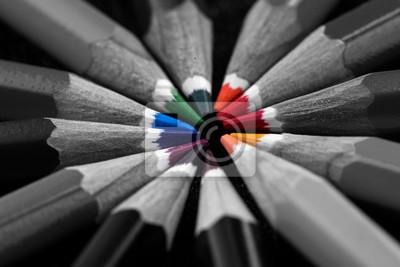 Obraz Colored pencils on black background
