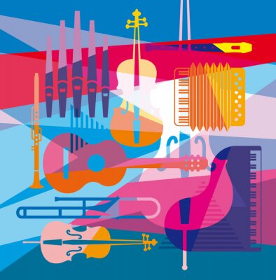Obraz colorful background with musical instruments