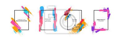 Obraz Colorful brush paint background template set