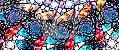Obraz Colorful glowing stained glass, computer generated abstract background 8k widescreen