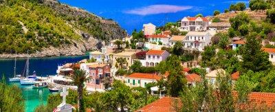 Colorful Greece series - beautiful coastal village Assos in Kefalonia. Ionian islands