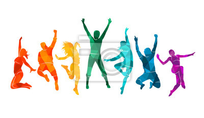 Obraz Colorful happy group people jump vector illustration silhouette. Cheerful man and woman isolated. Jumping fun friends background. Expressive dance dancing, jazz, funk, hip-hop