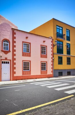 Colorful houses by a street in La Laguna old town, Tenerife.
