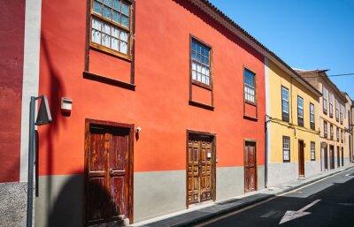 Colorful houses by a street in San Cristobal de La Laguna, Tenerife.