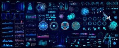 Obraz Colorful HUD elements set for UI, UX, GUI projects. Hi-tech digital elements for Scifi and HUD design - Circle gadgets, frames, callouts titles, charts, audio graphics, circle Sci-fi elements. Vector