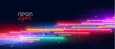 Obraz colorful neon led light effect banner