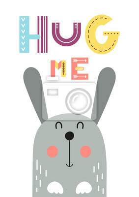 Colorful poster for nursery scandi design - cool hare in Scandinavian style. Vector Illustration. Kids illustration for baby clothes, greeting card, wrapper. Hug me.