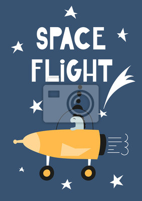 Colorful Poster for nursery scandi design with cute alien on rocket in Scandinavian style. Vector Illustration. Kids illustration for baby clothes, greeting card, wrapper. Space flight.