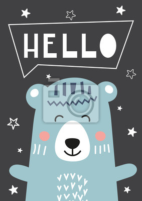 Colorful Poster for nursery scandi design with cute bear in Scandinavian style. Vector Illustration. Kids illustration for baby clothes, greeting card, wrapping paper. Lettering Hello.