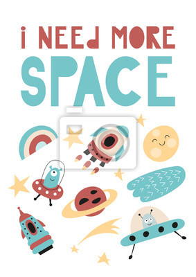 Colorful Poster for nursery scandi design with cute cosmos elements in Scandinavian style. Vector Illustration. Kids illustration for baby clothes, greeting card, wrapper. I need more space.