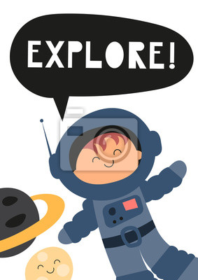 Colorful Poster for nursery scandi design with cute spaceman and planets in Scandinavian style. Vector Illustration. Kids illustration for baby clothes, greeting card, wrapper. Explore.