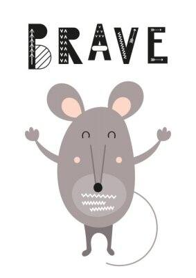 Colorful Poster for nursery scandi design with funny gray mouse in Scandinavian style. Vector Illustration. Kids illustration for baby clothes, greeting card, kids print. Brave.