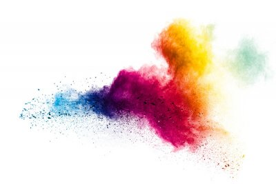 Obraz Colorful powder explosion on white background.Pastel color dust particle splashing.