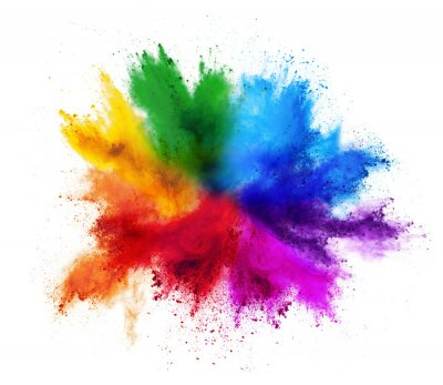 Obraz colorful rainbow holi paint color powder explosion isolated white background