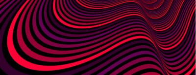 Obraz Colorful red abstract vector lines psychedelic optical illusion illustration, surreal op art linear curves in hyper 3D perspective, crazy distorted design, drug hallucination delirium,