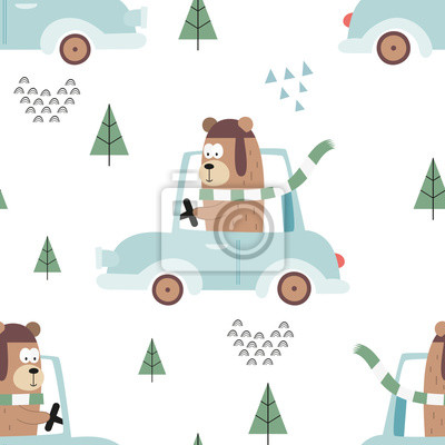 Colorful seamless pattern with cute animals and cars. Vector Illustration. Great for baby clothes, greeting card, wrapping paper. Bear in blue automobile.