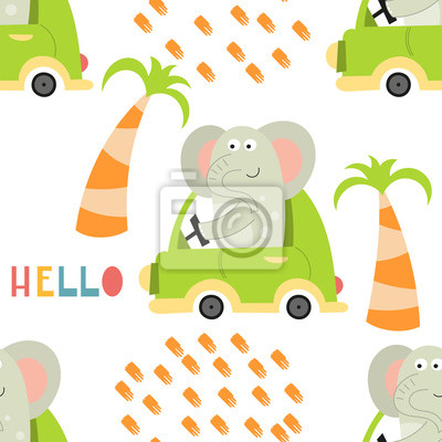 Colorful seamless pattern with cute animals and cars. Vector Illustration. Great for baby clothes, greeting card, wrapping paper. Elephant in green auto.